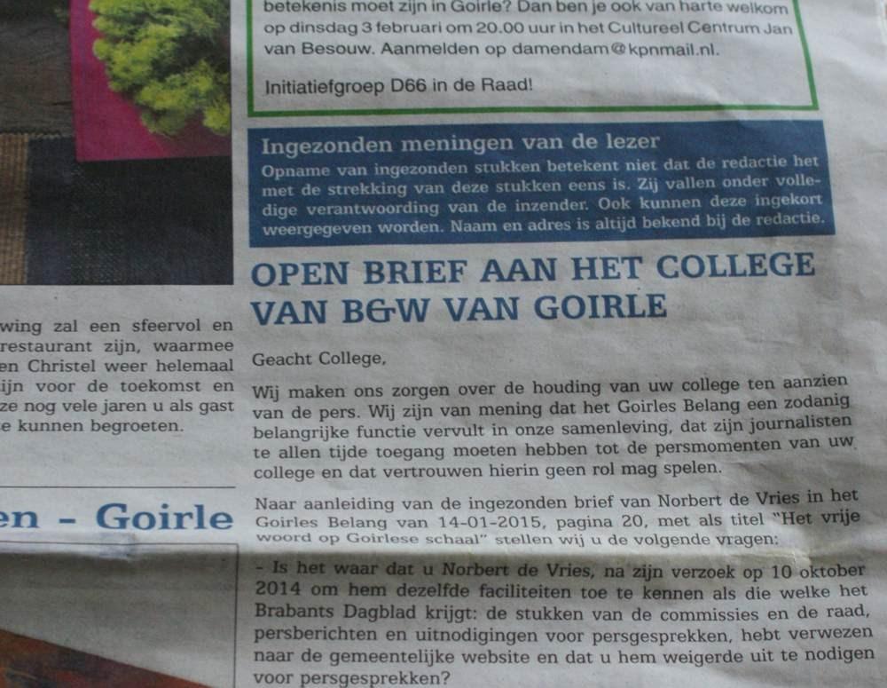 Open Brief Van Bw Goirle Over Persvrijheid Rondjegoirle Powered